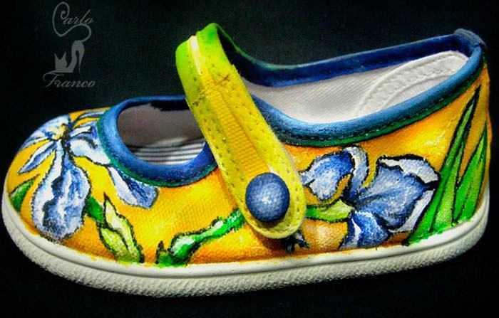 zapato de tela pintado